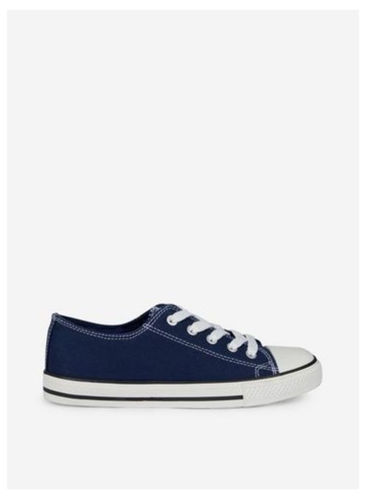 Womens Wide Fit Navy 'Icons' Trainers- Blue, Blue
