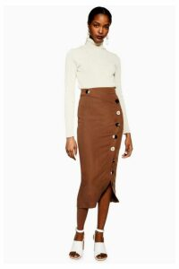 Womens Brown Mixed Button Pencil Skirt - Chocolate, Chocolate