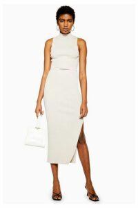 Womens Split Midi Skirt - Grey, Grey