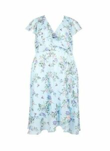 Womens **Billie & Blossom Curve Blue Floral Print Skater Dress- Blue, Blue