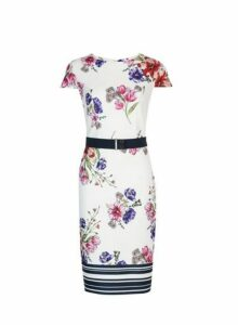 Womens Ivory Floral Print Scuba Belted Pencil Dress- White, White