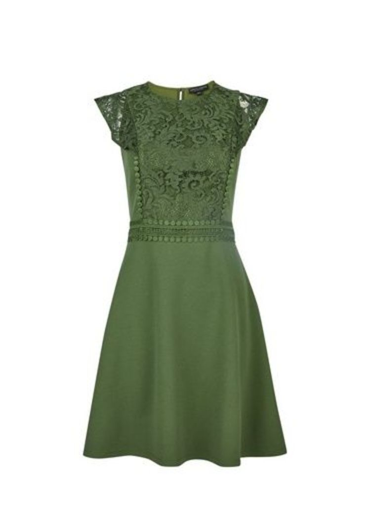 Womens **Sage Lace Trim Skater Dress- Green, Green