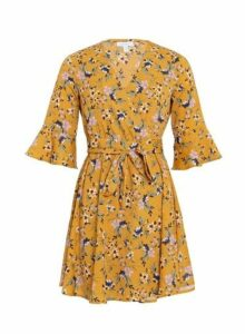 Womens *Blue Vanilla Multi Colour Frill Sleeve Wrap Dress- Mustard, Mustard
