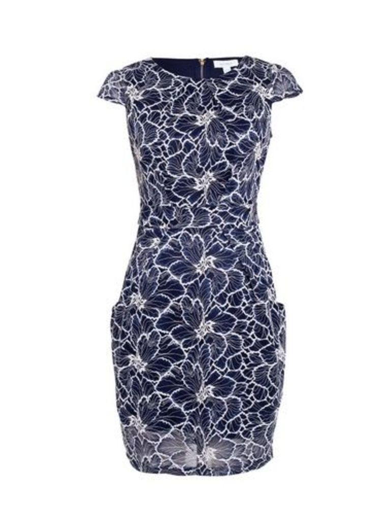 Womens *Blue Vanilla Navy Lace Tie Back Tulip Dress- Navy, Navy