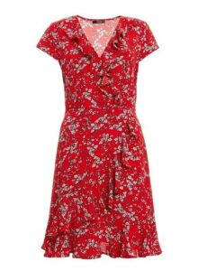 Womens *Quiz Red Floral Print Frill Dress- Red And White, Red And White