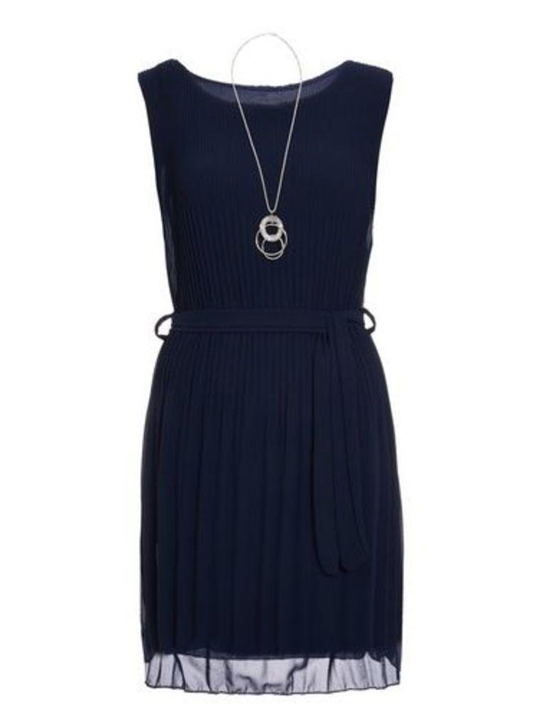 Womens *Quiz Navy Chiffon Pleated Dress- Navy, Navy