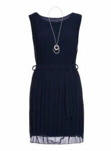Womens *Quiz Navy Chiffon Pleated Dress- Navy, Navy