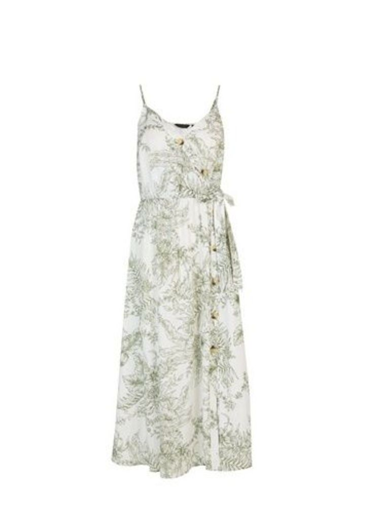 Womens Ivory Floral Print Skater Dress With Linen- Ivory, Ivory