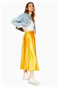 Womens Satin Full Circle Midi Skirt - Marigold, Marigold