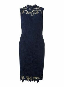 Womens **'Demi' Navy Lace Dres- Blue, Blue