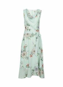 Womens **Billie & Blossom Tall Green Floral Print Midi Dress- Green, Green