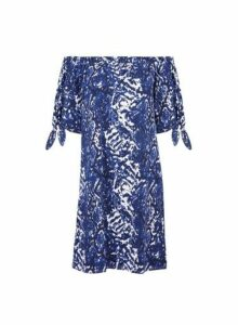 Womens Blue Snake Print Tie Sleeve Bardot Dress- White, White