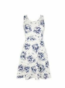 Womens Navy Tie Dye Print Strappy Wrap Fit And Flare Dress- Blue, Blue