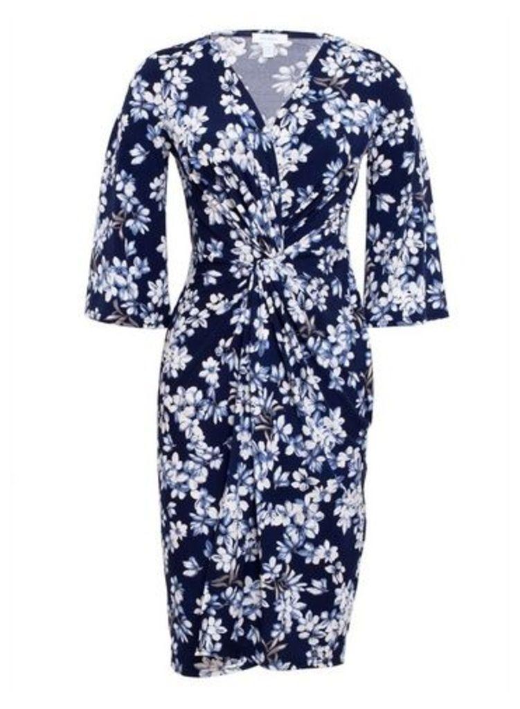 Womens *Blue Vanilla Navy Floral Print Twist Front Wrap Dress- Navy, Navy