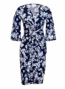 Womens *Blue Vanilla Navy Floral Print Twist Front Wrap Dress- Navy, Navy