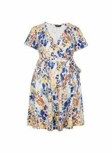 Womens **Dp Curve Multi Coloured Animal Print Short Sleeve Wrap Dress- Multi Colour, Multi Colour