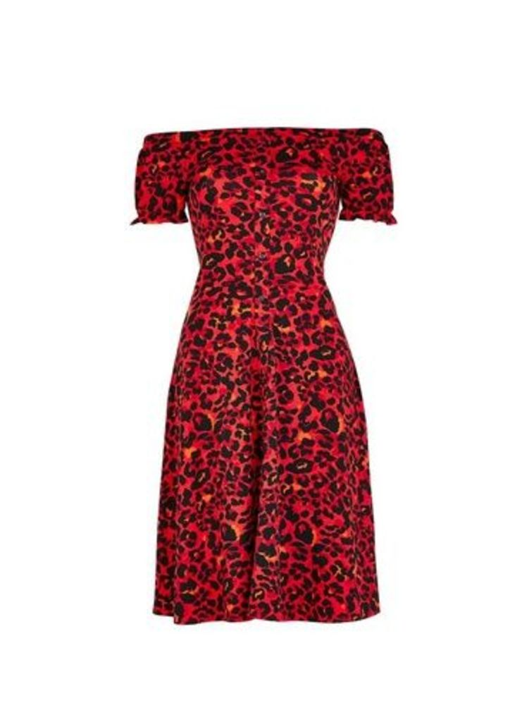 Womens **Tall Red Cheetah Print Fit And Flare Dress- Red, Red