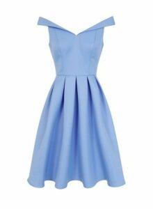 Womens *Chi Chi London Blue Bardot Midi Dress- Blue, Blue
