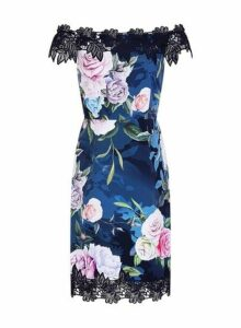 Womens **Paper Dolls Navy Floral Print Lace Bardot Bodycon Dress- Navy, Navy