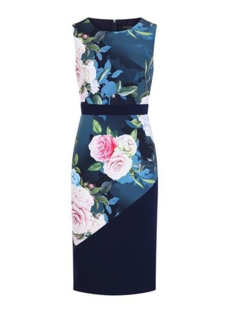 Womens **Paper Dolls Navy Colourblock Bodycon Dress- Blue, Blue