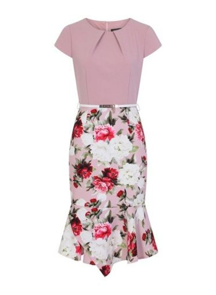 Womens **Paper Dolls Pink Rose Print Colourblock 2-In-1 Dress- Pink, Pink