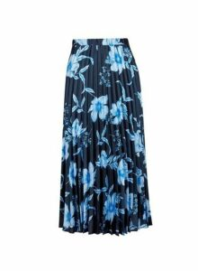 Womens Navy Floral Print Midi Skirt- Blue, Blue