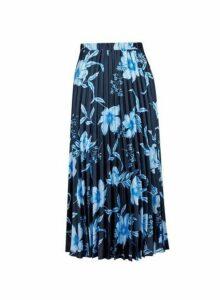 Womens Navy Floral Print Midi Skirt- Blue, Blue