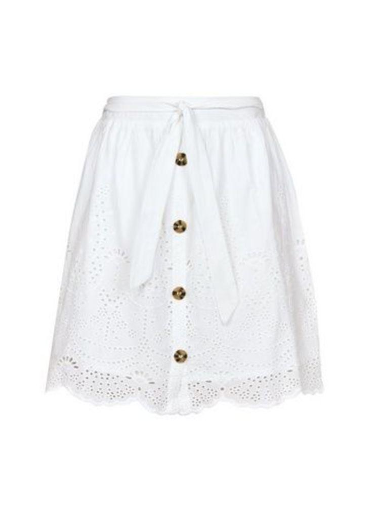 Womens White Ivory Broderie Skirt- White, White