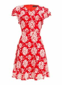 Womens *Tenki Red Floral Print Lace Dress- Red, Red