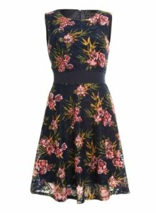 Womens *Tenki Blue Floral Print Lace Dress- Blue, Blue