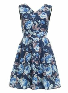 Womens *Tenki Blue Floral Print Skater Dress- Blue, Blue