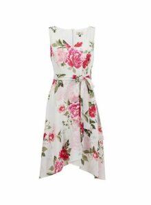 Womens **Billie & Blossom Petite Grey Floral Print Midi Dress, Grey