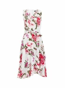 Womens **Billie & Blossom Grey Floral Print Midi Dress- Grey, Grey
