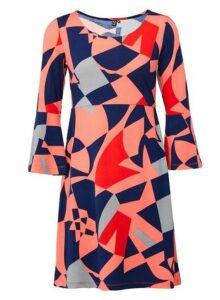 Womens *Izabel London Coral Geometric Print Shift Dress- Coral, Coral
