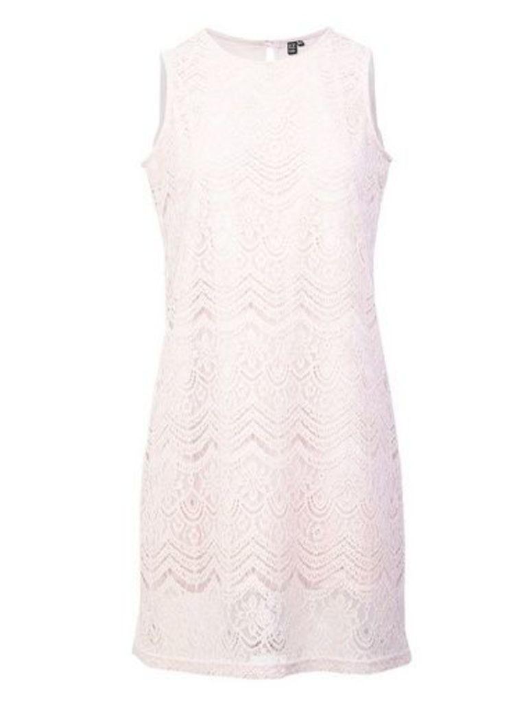 Womens *Izabel London Pink Lace Overlay Shift Dress- Pink, Pink