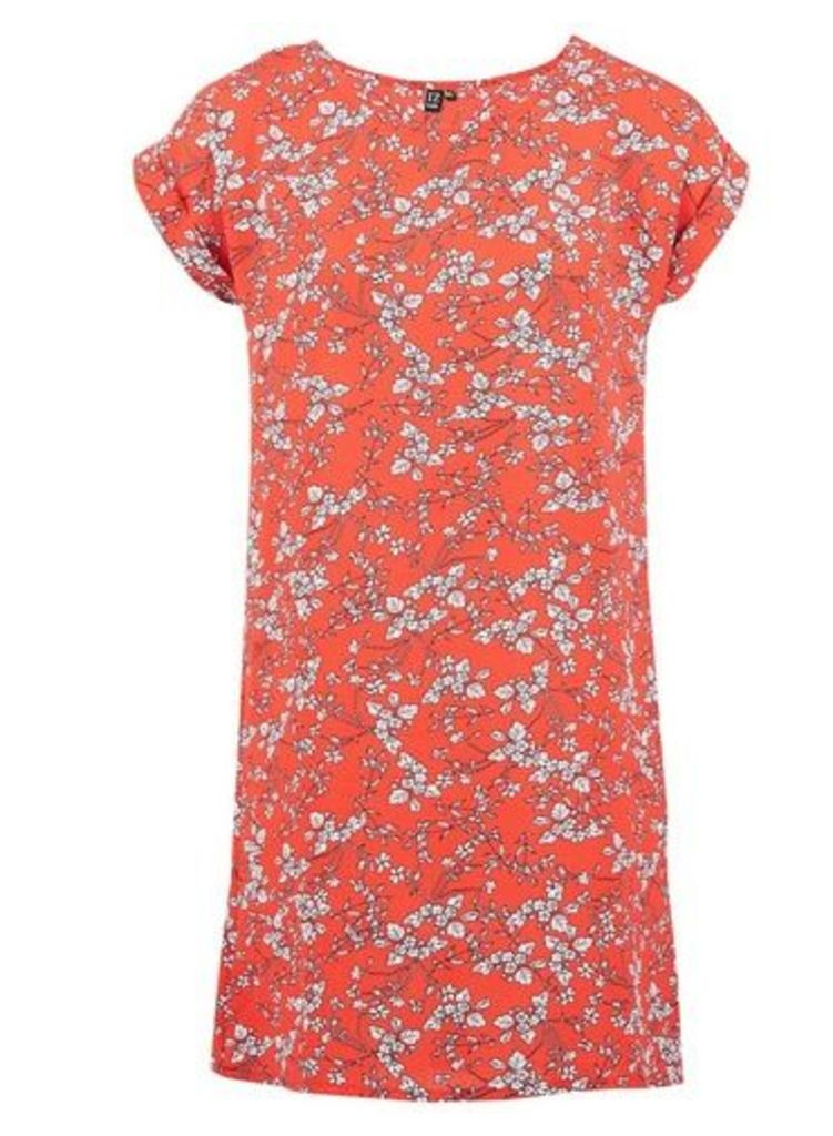 Womens *Izabel London Red Ditsy Floral Print Shift Dress- Red, Red