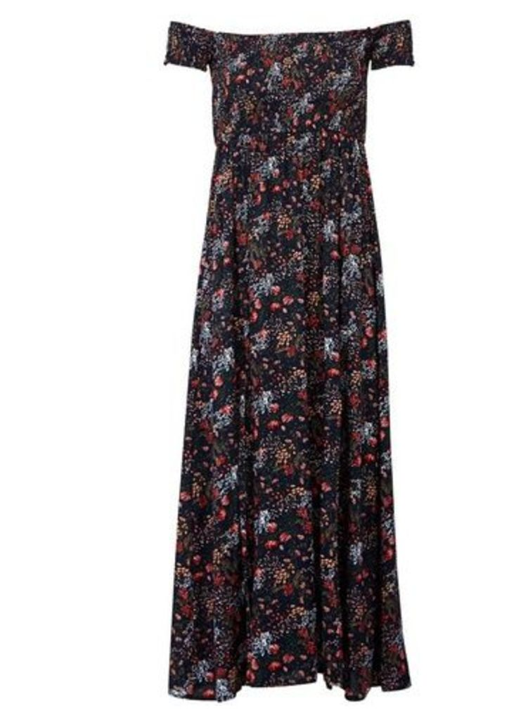 Womens *Izabel London Multi Colour Floral Print Bardot Maxi Dress- Multi Colour, Multi Colour
