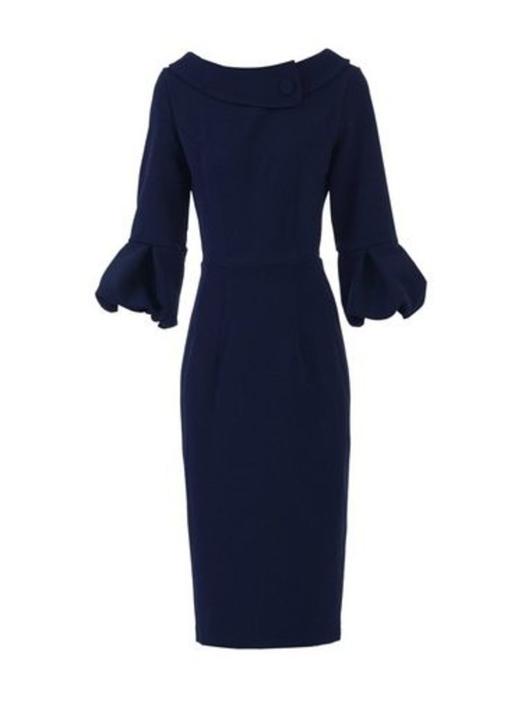 Womens *Jolie Moi Navy Puffy Sleeved Dress- Navy, Navy