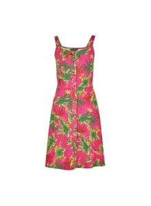 Womens Pink Tropical Print Button Camisole Dress- Pink, Pink