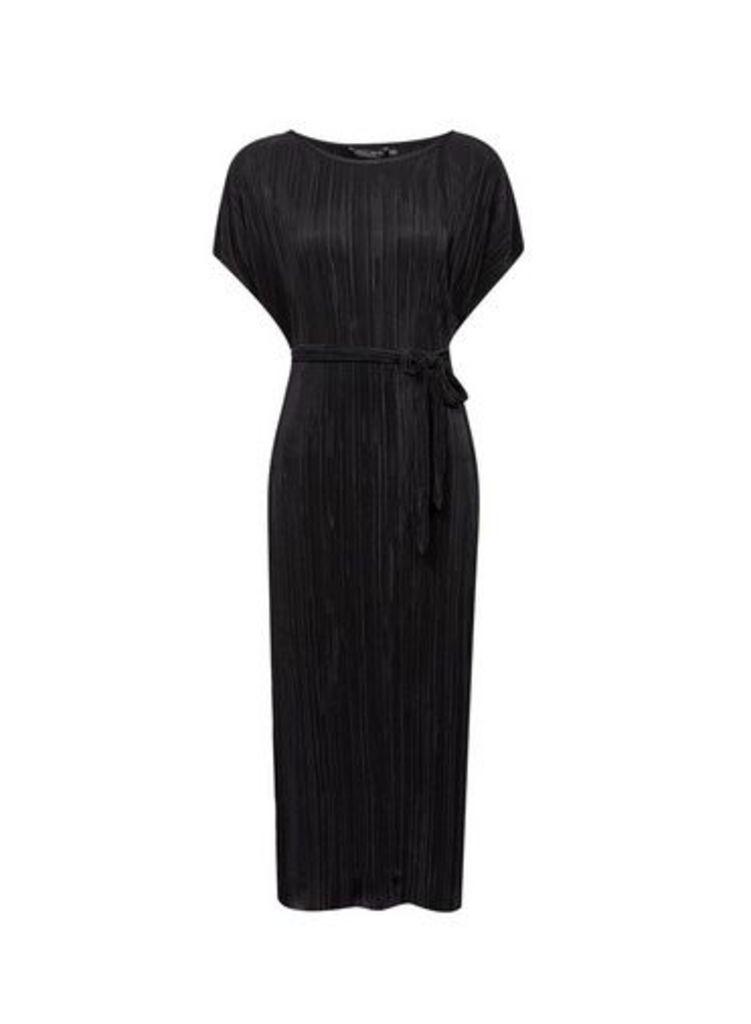 Womens Black Plisse Kimono Midi Dress- Black, Black