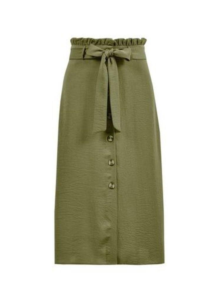 Womens Petite Khaki Tie Midi Skirt- Khaki, Khaki