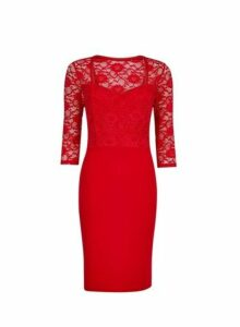 Womens **Red Lace Top Bodycon Dress- Red, Red
