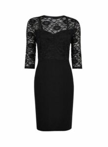 Womens **Black Lace Top Bodycon Dress- Black, Black