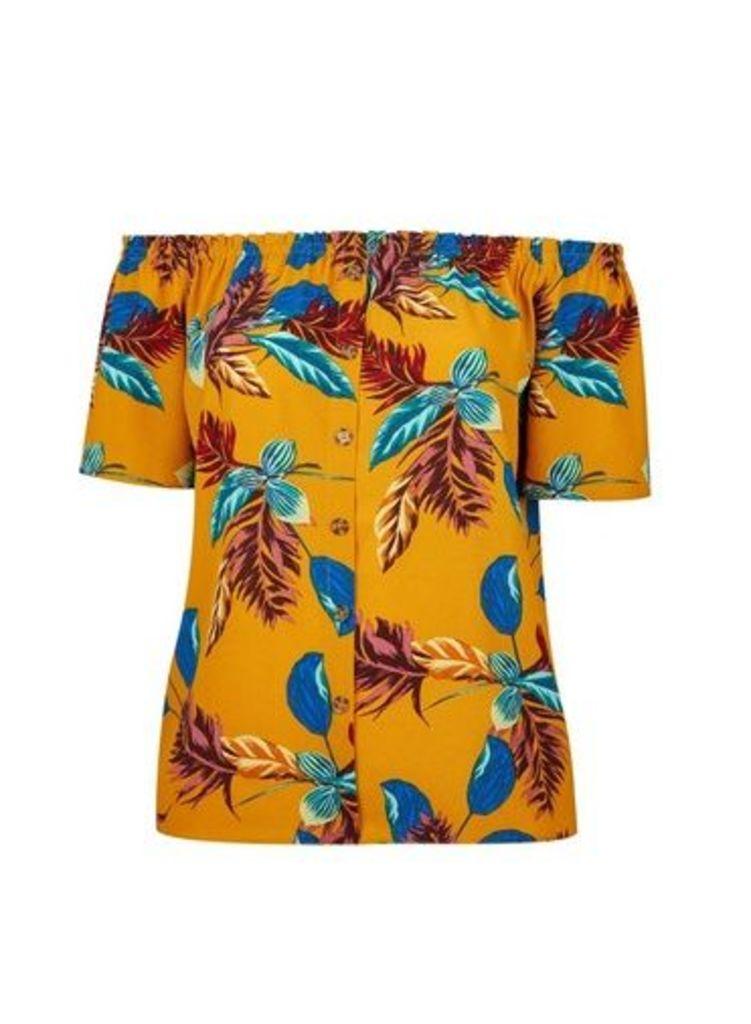 Womens **Dp Curve Multi Colour Palm Print Bardot Top- Orange, Orange