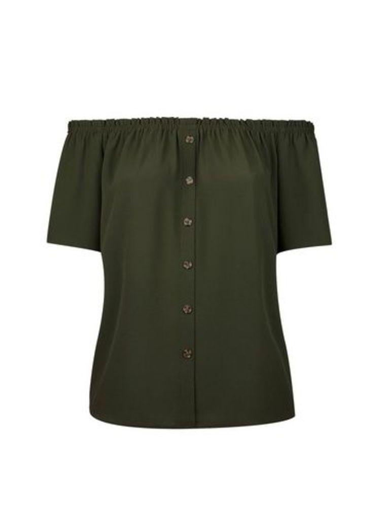 Womens **Dp Curve Khaki Button Down Bardot Top- Khaki, Khaki