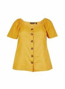 Womens **Dp Curve Yellow Flutter Top- Orange, Orange