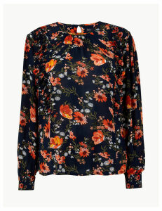 M&S Collection Floral Print Blouson Sleeve Ruffle Blouse