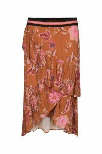 Womens Sofie Schnoor Burnt Orange Floral Wrap Skirt -  Orange