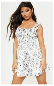 White Floral Shirred Tiered Shift Dress, White