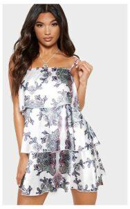 White Paisley Print Tiered Smock Dress, White